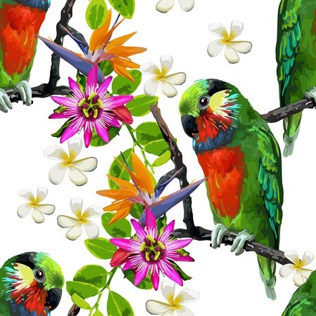 seamless pattern of exotic birds and beautiful flowers Ilustração