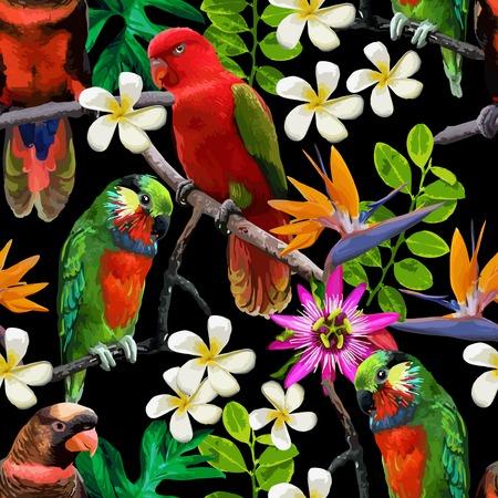 loros verdes: patrón transparente de aves exóticas y hermosas flores Vectores