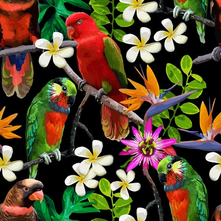 seamless pattern of exotic birds and beautiful flowers Vettoriali