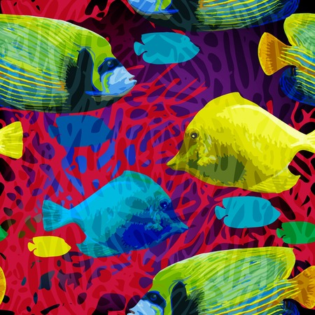 exotic fish: vector seamless pattern of exotic fish in the underwater world Illustration