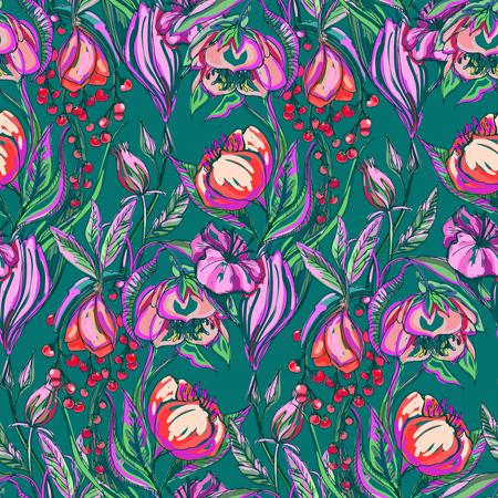 아트 워크 벡터 꽃 원활한 패턴 일러스트