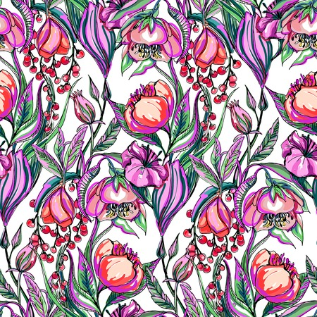 The artwork vector seamless pattern of flower Vector