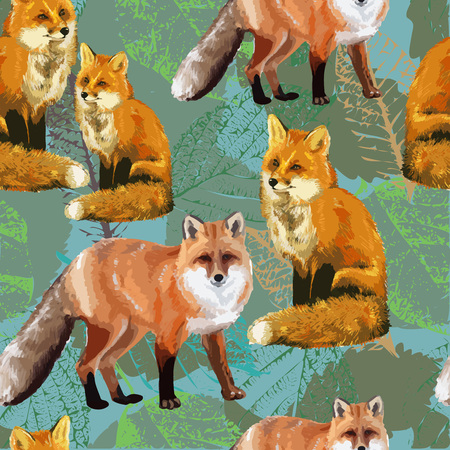 seamless pattern of autumn leaves and fox 일러스트