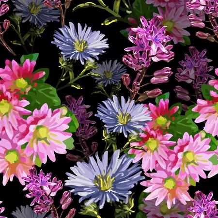 seamless pattern of autumn beautiful flowers and leaves Zdjęcie Seryjne - 31321547