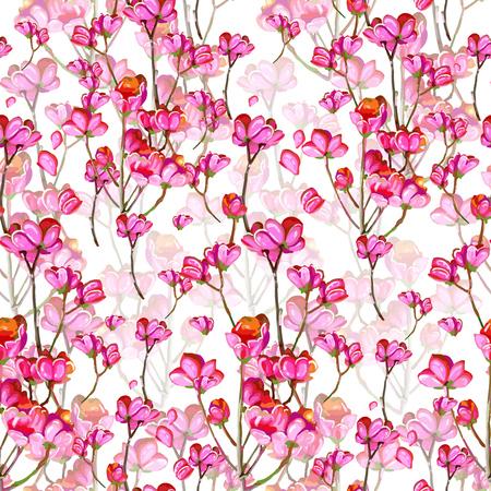 seamless pattern of beautiful pink flowers  Ilustracja