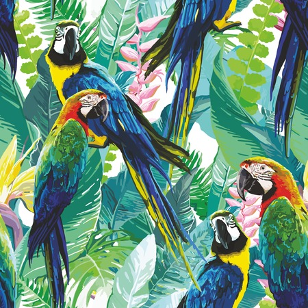 tropical forest: seamless pattern of colorful parrots and exotic flowers