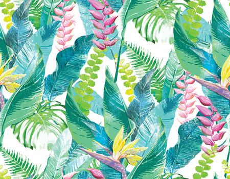 palm tree leaves:  Watercolor artwork of exotic flowers and leaves Stock Photo