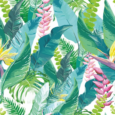 tropical rainforest:  Watercolor artwork of exotic flowers and leaves Illustration