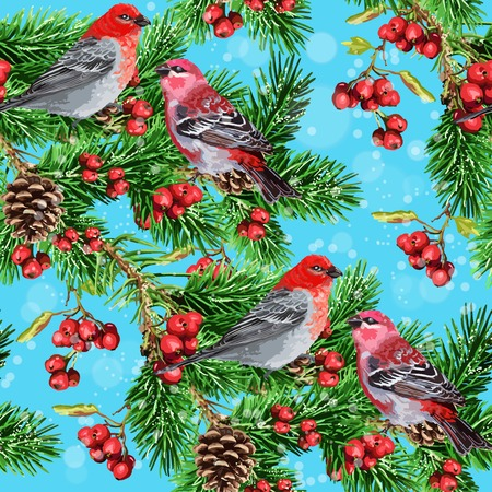 seamless pattern of Winter bird and fir branch and rowan Vector