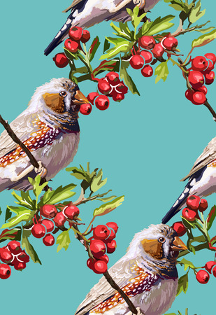 colorful bird, flower and rowan on a blue background Illustration