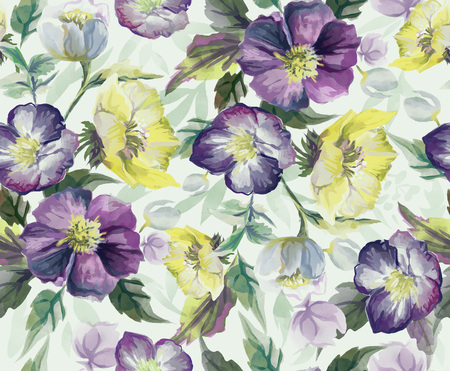 Colorful seamless pattern of flowers. Hand draw watercolor. Raster illustration.