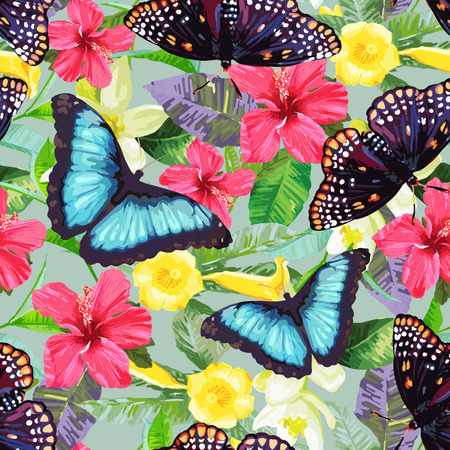 Tropical flowers and exotic butterflies. Vector seamless pattern