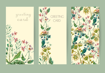 Vector floral seamless pattern. Colorful floral pattern with wild flowers on a white background, drawing watercolor Illustration