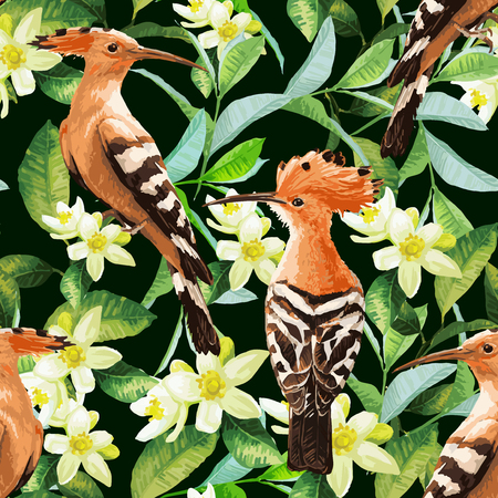 Seamless pattern with exotic birds, tropical leaves and white flowers. Vector background.
