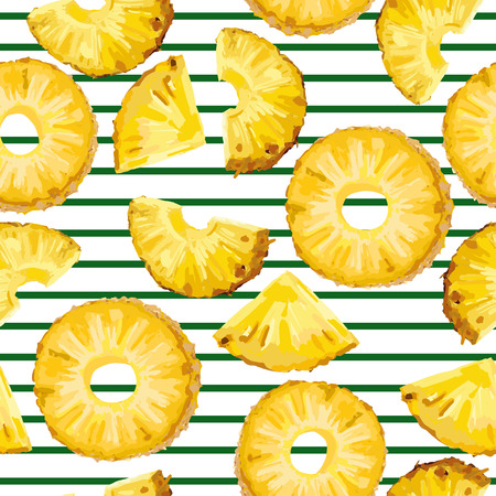 Vector seamless pattern with pinapple slices on the green stripe