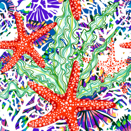 vector seamless pattern with sea underrwater floral  イラスト・ベクター素材