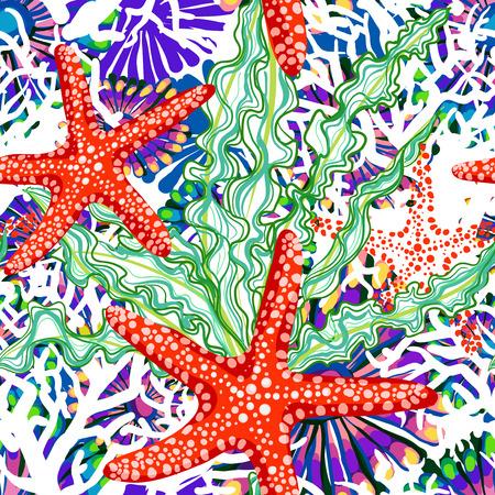 꽃 underrwater 바다와 벡터 원활한 패턴 일러스트