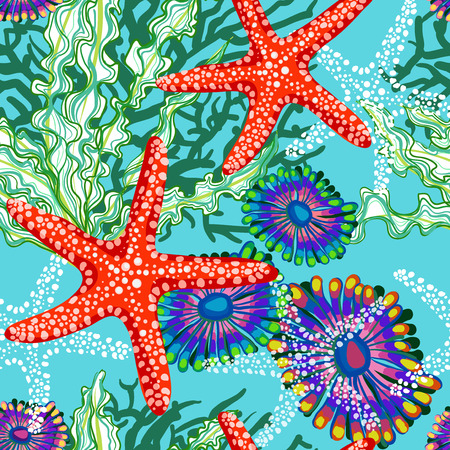 under sea: vector seamless pattern with sea underrwater floral Illustration