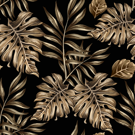 seamless pattern of gold leaves and flowers on a black background