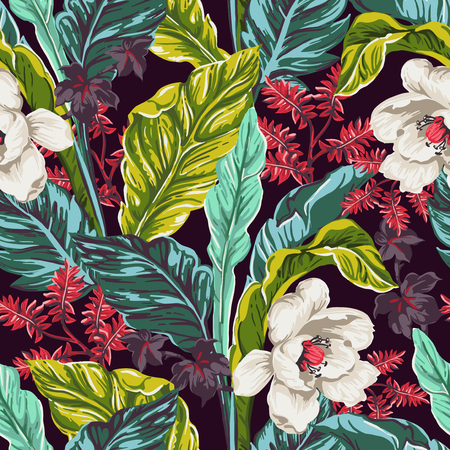 resort beach: seamless pattern of exotic leaves on a dark background