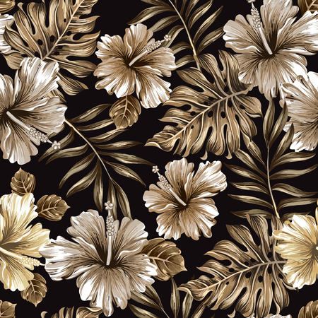 seamless pattern of gold leaves and flowers on a black background 版權商用圖片 - 44693725