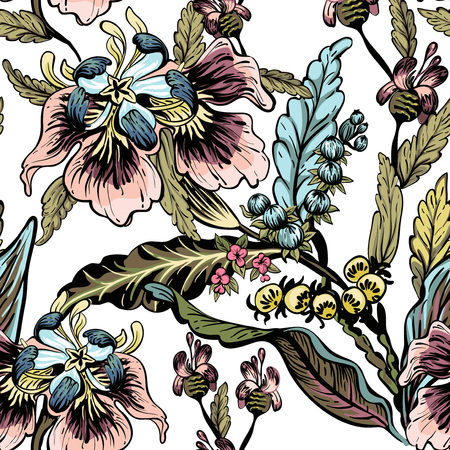 fabric painting: seamless pattern of decorative flowers, artwork background Illustration
