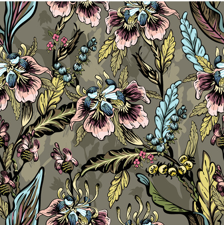 seamless pattern of decorative flowers, artwork background Vectores