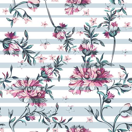 flores vintage: seamless pattern with stripe on a white background Illustration