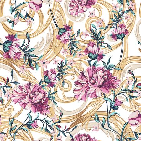 흰색 배경에 바로코 패턴으로 장식 꽃