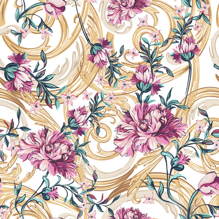 decorative flowers with barocco pattern on a white background