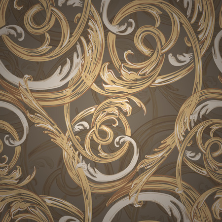 gold swirls: Decorative seamless pattern, barocco style for background