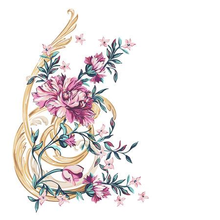 dessin: fleurs d�coratives avec motif de barocco sur un fond blanc