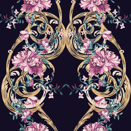 color image: decorative flowers with barocco seamless pattern on a dark background