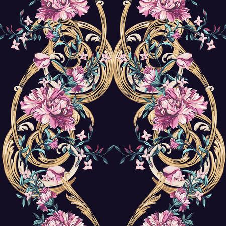flowers: flores decorativas con barocco patrón transparente sobre un fondo oscuro