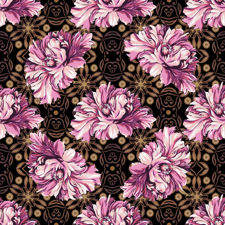 pattern antique: decorative flowers with barocco pattern, seamless background Illustration