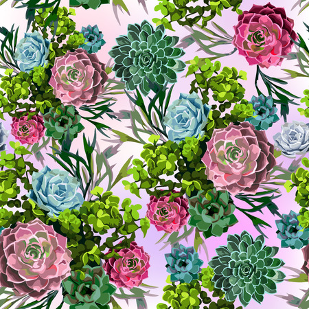 bunch: Seamless pattern of succulent plant on a white background. Hand draw pattern.
