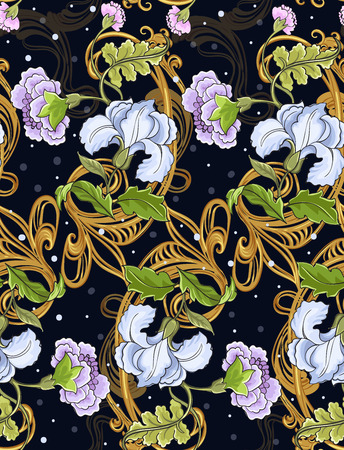 Floral ornament with baroque pattern on a dark background.