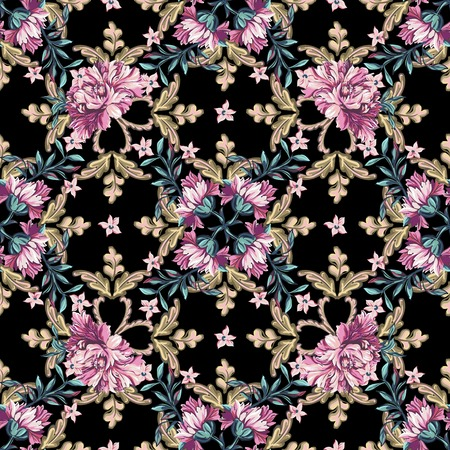 Floral seamless pattern in baroque style on a black background.