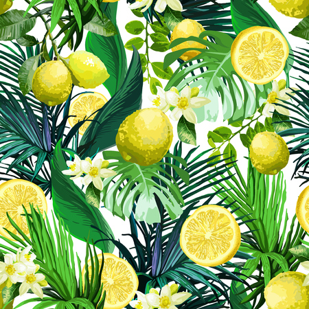 Seamless pattern of Lemon, flowers and tropical leaves on a white background.