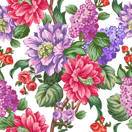 pastel like: Beautiful pink flowers witn lilac and green leaves on a white background.