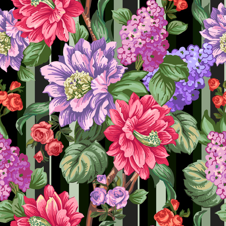 pastel like: Exotic flowers and leaves on a branch. Seamless pattern of flowers on a black background. Illustration