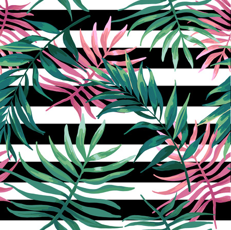 fern leaf: Tropical leaves green and pink color on a black stripes.