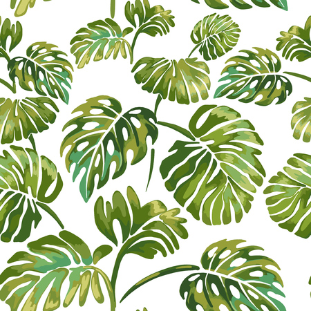 Seamless pattern of jungle leaves on a white background. Tropical green Monstera. Jungle wildlife.