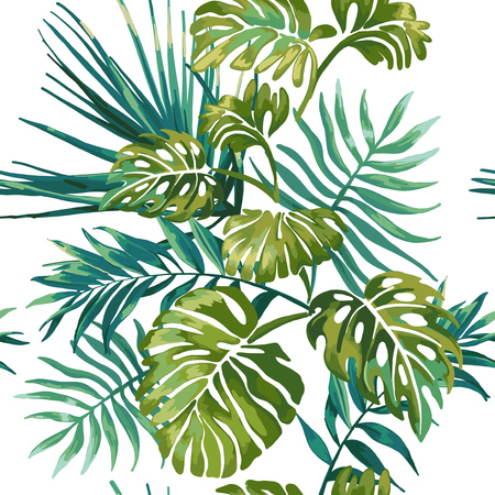 tropical: Seamless pattern of jungle leaves on a white background. Tropical green Monstera. Jungle wildlife.