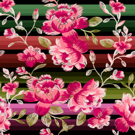 Seamless pattern of peonies on a colored striped. Immitation embroidery.