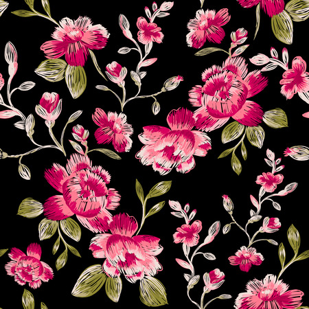 Seamless pattern of peonies on a black background. Immitation embroidery.