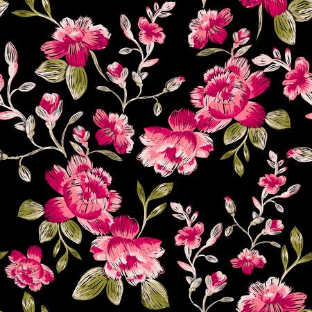 bordados: sin patrón de peonías en un fondo negro. bordado de imitación.