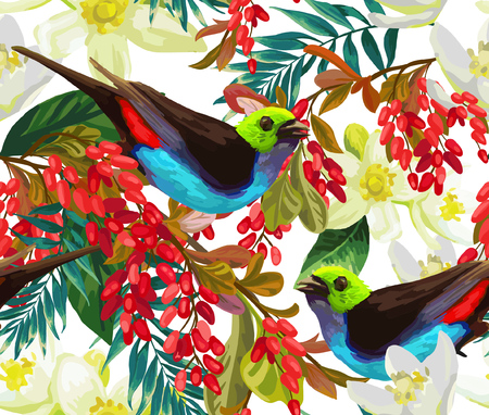 Beautiful bird, red berries and white flowers on a white background.