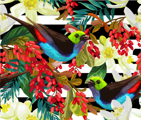 Beautiful bird, red berries and white flowers on a stripe background.