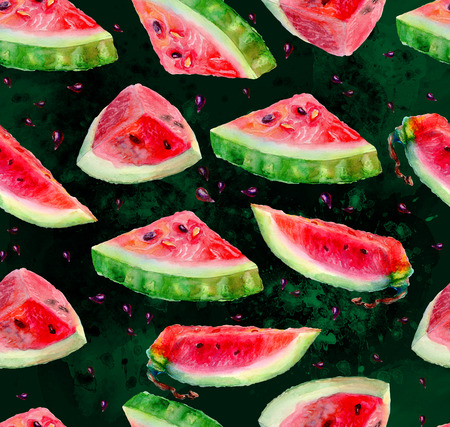 Artwork seamless pattern of watercolor pieces watermelon.